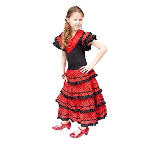 ee2b966383be La Senorita Spanish Flamenco Dress - Girls/Kids - Black/Red - Size 10