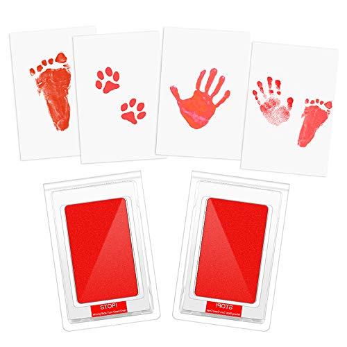 Etmury - Set di 2 tamponi per impronte di mani e piedi, per bambini, puliti al tocco, sicuri, atossici, per neonati