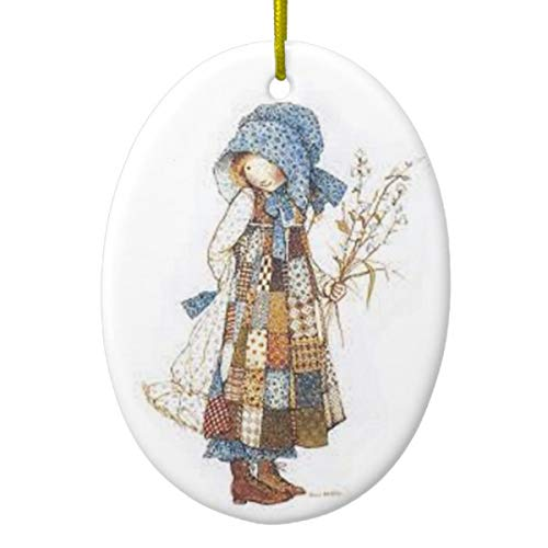 Holly Hobbie Oval Christmas Ornament Two Sided