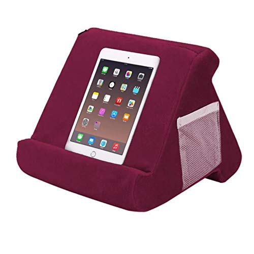 Pillow Pad Multi-Angle Soft Tablet Holder, A Multi-Angle Soft Holder for Mini Ipad, Tablet, E-Reader, Smart Phone, Books, Very Suitable for Children (Gray, Blue, Black, Navy, Wine Red)