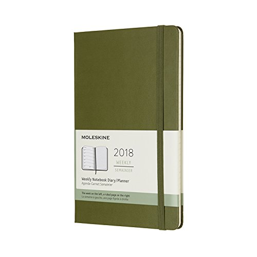 Moleskine 12 Month Weekly Planner, Large, Elm Green, Hard Cover (5 x 8.25)