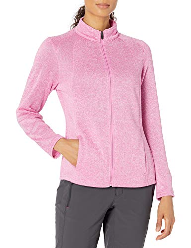 PGA TOUR Women's Fleece Full-Zip Sweater, Super Pink Heather, Large