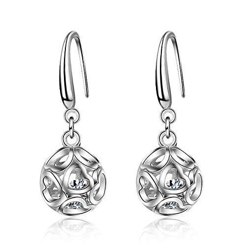 Pendientes Kiccoum para mujer, diseño de flores dobles, con forma de bola, para la oreja, pendientes de gancho