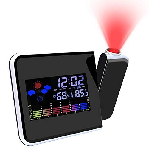 Reloj despertador de proyección atómica con LED de 180 °, giratorio, con puerto de carga USB, estación meteorológica personal, reloj para dormitorio, sala de estar, oficina
