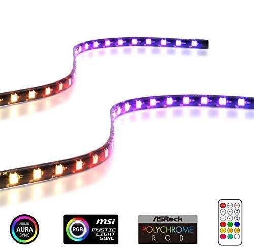 HVTKL Tira de LED RGB direccionable con imán for caja de PC con control remoto (compatible con ASUS Aura Sync y MSI Mystic Light Sync) - Paquete de 2 40 cm HVTKL