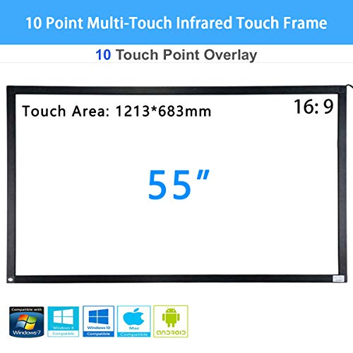 SPECIAL PIE 55 Zoll 10-Punkt-Multi-Touch-Infrarot-Touch-Frame, IR-Touch-Panel 16: 9-Infrarot-Touch-Screen-Overlay mit USB-Schnittstelle für LCD- / LED-TV-Display, Präsentation