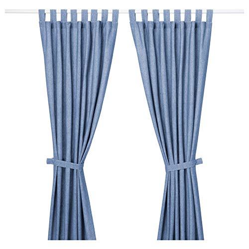 IKEA 803.961.77 Lenda - Cortinas con alzapaños, 1 par, 55 x 98 cm, color azul