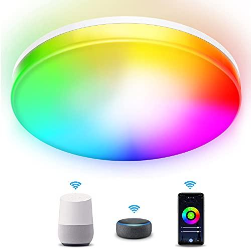 Kallrra Redondo Plafon LED Techo, RGB 28W Lampara LED Techo Modernos, WiFi Bluetooth Plafones para Techo Regulable IP54, Alexa Lámpara Techo APP Control para Habitacion Salon Dormitorio Cocina