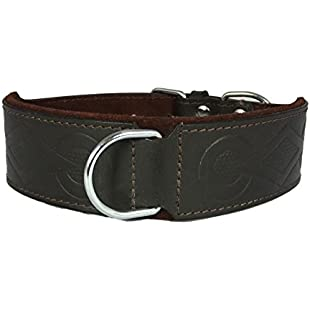 Brown Leather Retro Embossed Dog Collar For Staffy Staffordshire Bull Terrier Bulldog (12-16 Inch - 1.5 Inch Wide):Delocitypvp