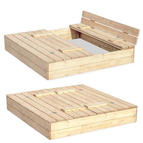 Sandkasten Sandbox Sandkiste mit Klappdeckel Sitzbänken 120x120x20 Kiefernholz mit Anti-Unkraut Bodenplane Deckel und Bank Buddelkasten Quadratisch Gartenspiel Natur Nicht lackiert - 4