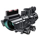 HIMIFOY 4x32 Tactical Optical Sight Red & Green &Blue Illuminated Reticle Scope with Fiber Optic Sight Hunting Scopes