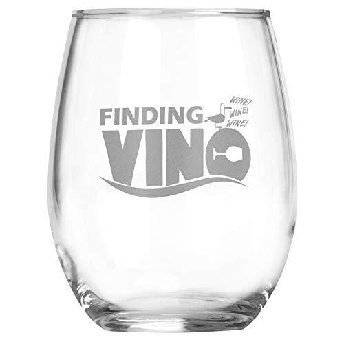 Finding Vino - 15 oz Stemless Wine Glass - Funny Disney Lovers Gift for Birthday - Mermaid - Fishing Gifts - Best Friend Mom Gift - Nemo Dory Gift