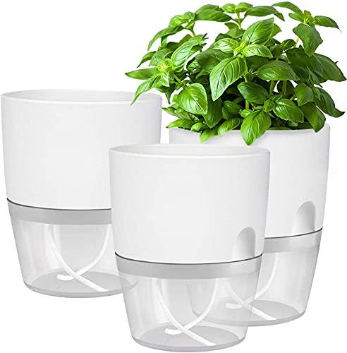 Kräutertopf Küche Set Fensterbank selbstbewässernd-3er Set Kräutergarten für die Küche,18.2X 11x 15.3 cm, für frische Küchenkräuter, weiß