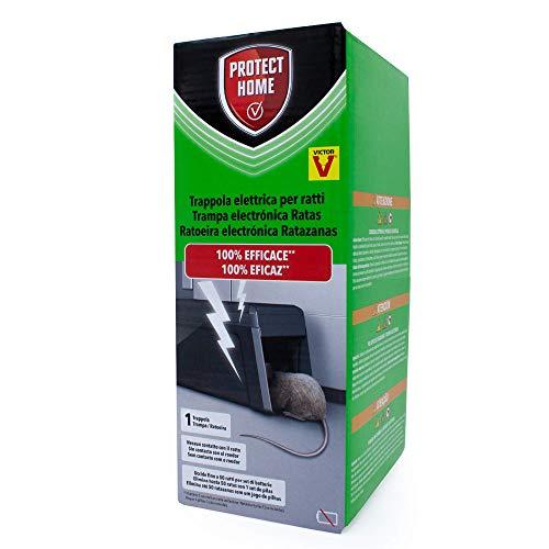 PROTECT HOME Trampa eléctrica para Ratas, 100% eficaz, Alto Voltaje, 50 descargas. Calidad Victor, Control de roedores