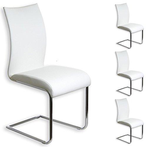 IDIMEX Schwingstuhl ALADINO Set mit 4 Stühlen Chrom/weiß
