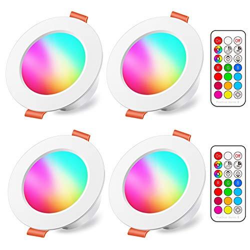 Foco Empotrable LED 8W (equivalente a 60W), Colores RGBW Cambio de Color 5700K Blanco Frio Downlight Plafón Luz de Techo RGB Regulable casquillo fino mando Incluido Plano Redondo (4 unidades)