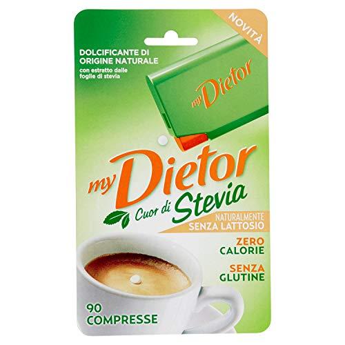 Dietor - Mydietor Cuor Di Stevia Dolcificante Naturale Con Estratto Di Stevia 0 Kcal, Senza Glutine E Senza Lattosio - Blister Da 90 Compresse