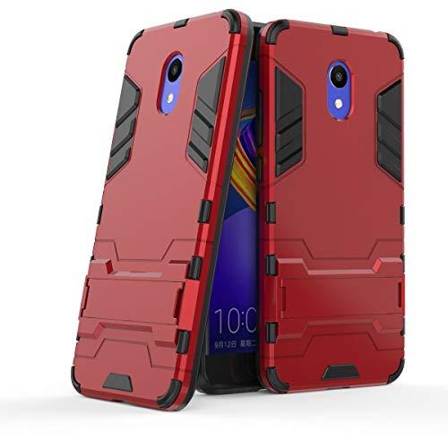 tinyue® Handyhülle für Meizu M6S, Hülle 2 in 1 Material Harte Schwer doppelte kratzfester Handyfall im Freienhandyfall Iron Man Rüstung mit Kickstand Hülle, Rot