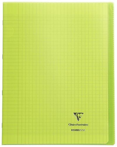 Clairefontaine 984403C - Un cahier piqué Koverbook 48 pages 24x32 cm 90g grands carreaux, couverture polypro (plastique) transparente, Vert