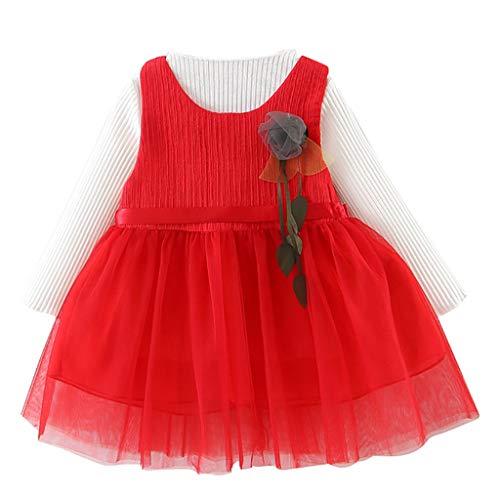 ProperLI Ensemble de Deux pièces pour bébé Fille, Chemise de Couleur Unie à Manches Longues + Robe de Princesse en Maille (6-24Mois)