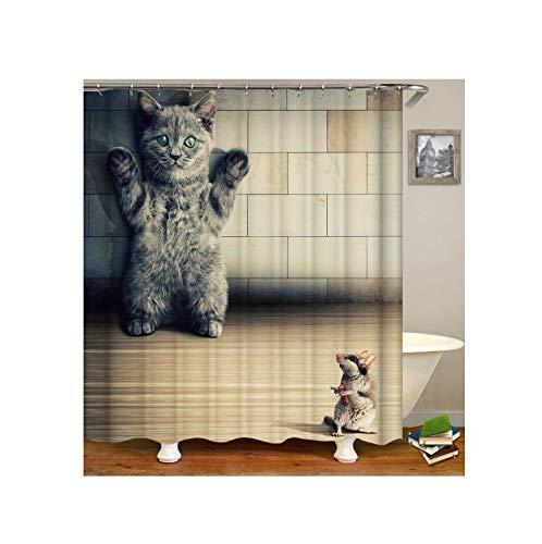 AmDxD Duschvorhang aus Polyester| 3D-Druck Kätzchen Maus Muster Design Bad Vorhang Badewannenvorhang | Bunt | mit 12 Duschvorhangringen für Badewanne Badezimmer - 165x180CM