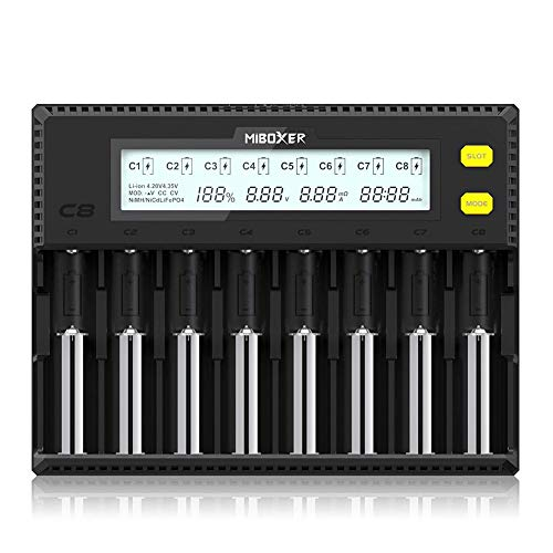 Miboxer 18650 Battery Charger for Rechargeable AA Batteries AAA IMR 20700 21700 26650 Lifepo4 Ni-MH Intellicharger, 8 Bay