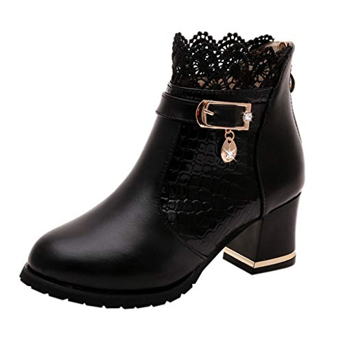 Check Out This jin&Co Women's Faux Leather Heeled Ankle Boots Mesh Breathable Buckle Lace Chunky B...
