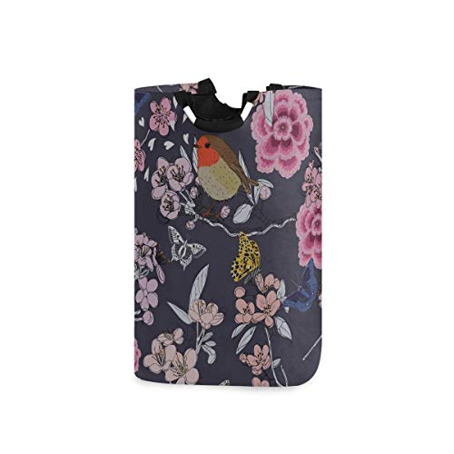 ZANSENG Colapsable Laundry Baskets,Cherry Blossom Pattern Butterflies Bird Waterproof Portable Storage Bag with Carry Aluminium Handles for Dirty Clothes