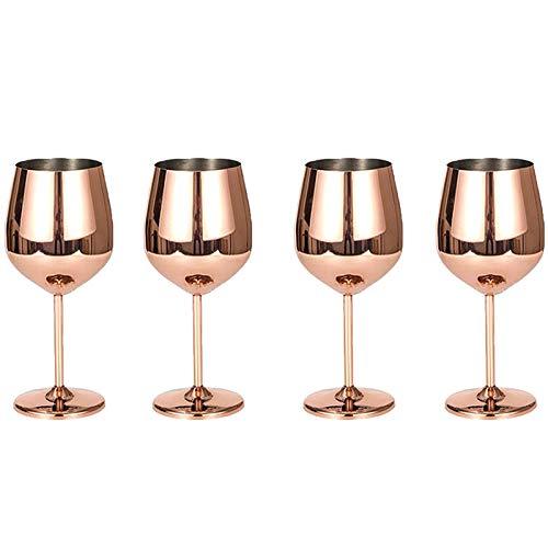 Kuinayouyi Juego de 4 copas de vino de acero, para fiestas, cocina, hotel, restaurante, 500 ml