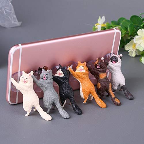JBBERTH 6 Pack Different Cats Smart Phone Sucker Holder Cute Cat Support Resin Cell Phone Holder Stand Sucker Tablets Desk Sucker Smartphone Holder。