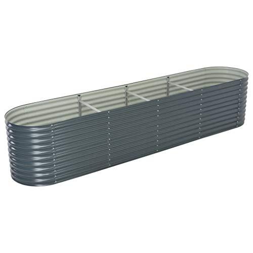 Festnight Metall Hochbeet Grau 400 x 80 x 81 cm   Gartenbeet Pflanzkübel aus Verzinkter Stahl für Garten Terrasse Balkon