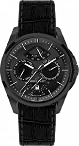 Pierre Petit Men's P-822C Le Mans Black IP Stainless Steel Day Date Power Reserve Luminous Black Anti Allergic Genuine Leather Watch image