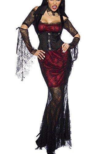 Yourdesignerz sexy Hexen Kostüm Outfit Damen schwarz-rot XS-M Verkleidung sexy Kleid, Corsagen-Weste, Kragen, 2 Ärmel
