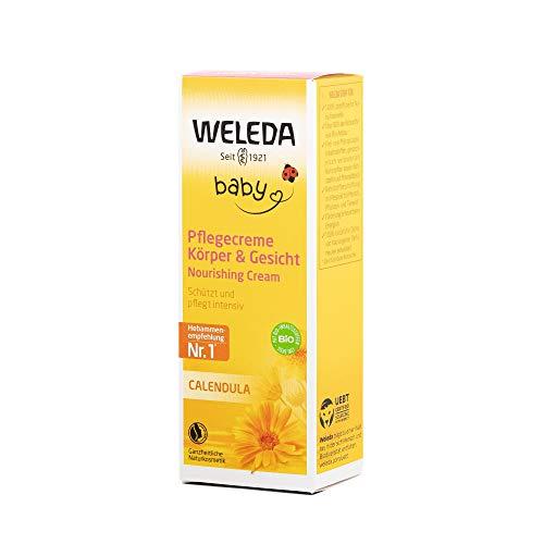 WELEDA Baby Calendula Pflegecreme, Naturkosmetik Körperpflege zur Pflege und Beruhigung trockener Haut, reichhaltige Feuchtigkeitscreme für Babys und Kinder (1 x 75 ml)