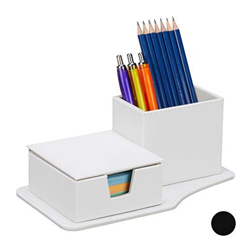 Relaxdays Schreibtisch Organizer, für Zettel & Stifte, mehr Ordnung, Kunstleder, HBT 9 x 23,5 x 12cm, Tisch Butler, weiß