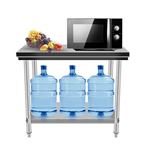 TatDE0aYang Einfach zu säubern Gastronomie Edelstahl Arbeitstisch Tisch bis 100 kg belastbar, Profi Gastro Küchentisch mit extra großer unteren Ablagefläche und justierbaren Stellfüßen (80x50x85CM)