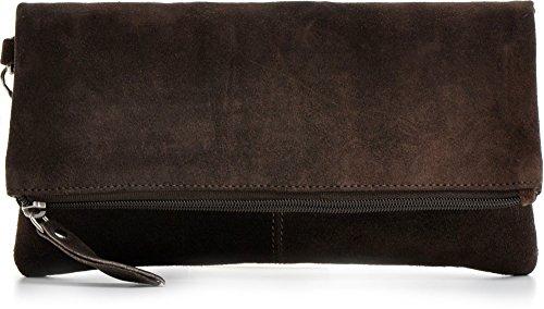 CNTMP, Damen Handtaschen, Clutches, Clutch, Unterarmtaschen, Abendtaschen, Party-Bags, Trend-Bags, Velours, Veloursleder, Wildleder, Leder Tasche, Farbe:Dunkelbraun;Größe:Large