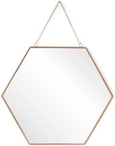 Black Velvet Studio - Espejo Pared Mirror, Metal, Color Cobre, Forma Hexagonal. Estilo nórdico. 39x45x1 cm.