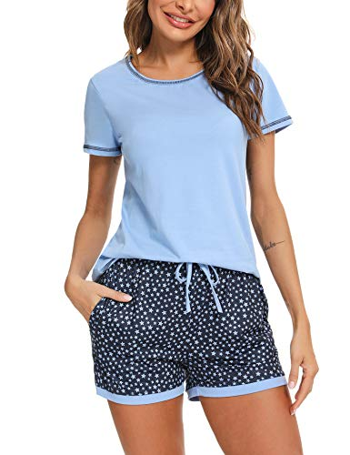 Hawiton Pijama Mujer Verano Manga Corta Algodon Sexy Pijamas Mujer Talla Grande Ropa para Dormir con Top y Pantalon 2 Piezas, Azul, M