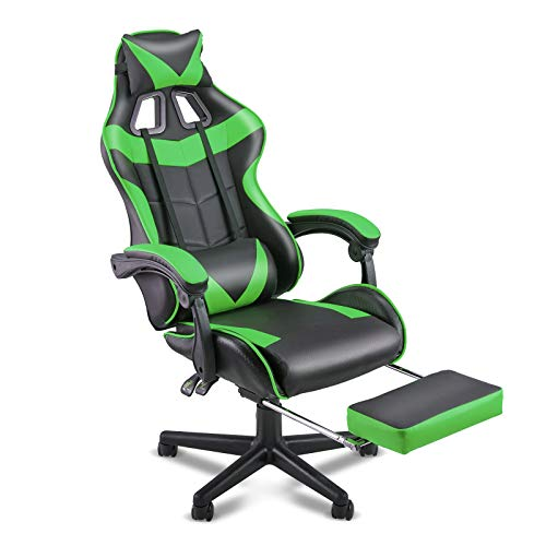 Soontrans Green Gaming Chair,Racing Chair for Gaming,Computer Chair,E-Sports Chair,Ergonomic Office Chair with Retractable Footrest and Adjustable Headrest and Lumbar Support(Jungle Green)
