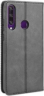 حافظة هواوي Y6p ، غطاء مغناطيسي محفظة ريترو ستايل مع فتحات بطاقة الائتمان وحامل قلاب - أسود
