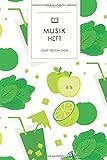Musikheft: Grüner Smoothie Detox Muster. Notenheft 120 Seiten für Noten mit schönem Design. Soft Cover 6x9 Zoll, ca. DIN A5 15x22cm.