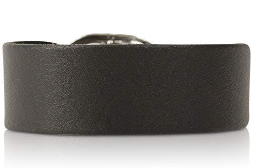 SCAMODA ® Kraftarmband aus 100% Leder, Metall-Schließe, Vintage Lederarmband für Damen und Herren, Made In Gemany (Schwarz, 1-reihig, glatt-schmal)