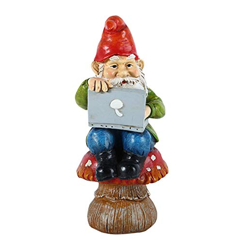 Augproveshak 7,5 Zoll Weihnachten Gnom Ornamente Elf Hält Einen Computer Niedliches Harz Handwerk Garten Statue Desktop Dekoration Für Garten, Rasen, Veranda