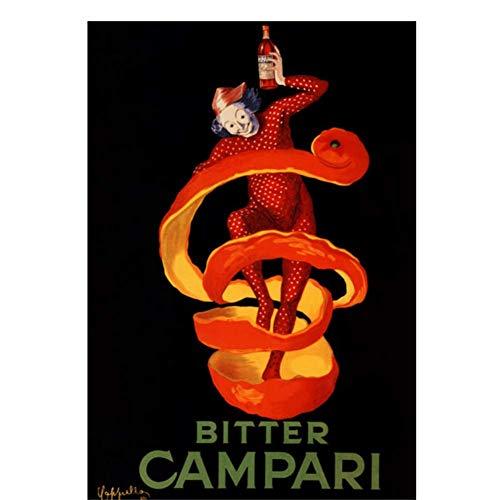Vintage Alcoholische Dranken Wijn Bier Poster Bitter Campari Klassieke Canvas Schilderijen Muurposters Stickers Home Decor Cadeau-50x70cmx1pcs -Geen Frame