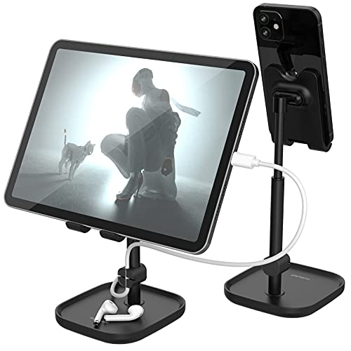 Cell Phone Stand for Desk, HORUMP Angle Height Adjustable Phone Holder Stand for Desk, Compatible with iPhone, Kindle, All Mobile Phones