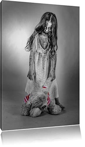 gruseliges Mädchen mit Teddy schwarz/weiß Format: 100x70 auf Leinwand, XXL riesige Bilder fertig gerahmt mit Keilrahmen, Kunstdruck auf Wandbild mit Rahmen, günstiger als Gemälde oder Ölbild, kein Poster oder Plakat