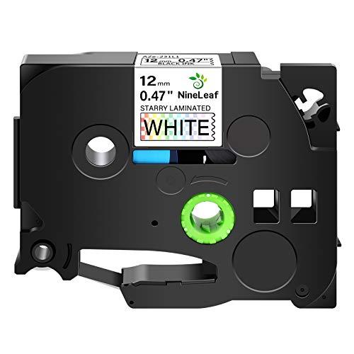 NineLeaf 1PK Compatible for Brother TZe-231L1 TZe231L1 TZ-231L1 TZ231L1 12mm 1/2'' 0.47'' Black on White Glitter Starry Rainbow Bling Laser Laminated Label Tape Work with P-Touch PT-D210 Label Maker