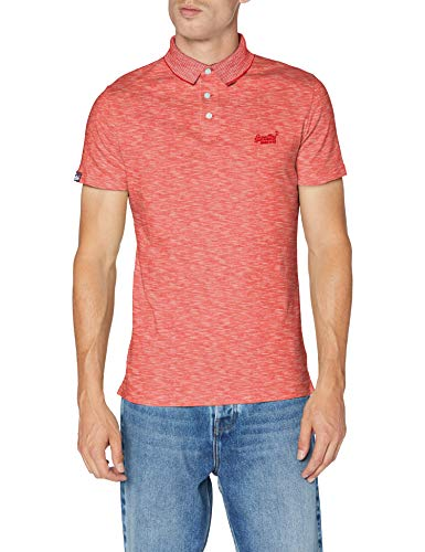 Superdry Herren ORANGE Label Jersey Polo Poloshirt, Rot (Grenadine Feeder 3AZ), X-Large