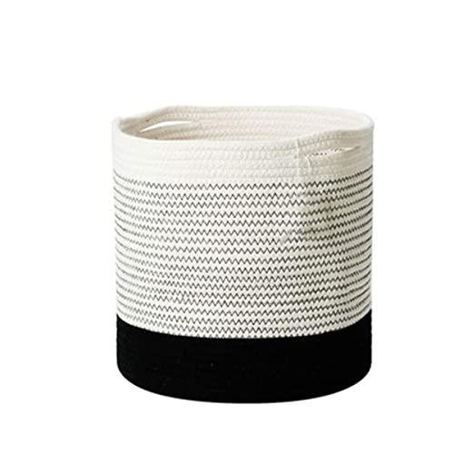 MTYQE Cesta de Cuerda de algodón Cesta Natural Tejida Cesta de lavandería para bebés Organizador de Almacenamiento de Juguetes Contenedores de Almacenamiento para el hogar, 25 CM * 25 CM Negro
